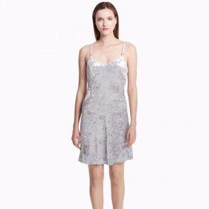 Calvin Klein crushed velvet silver cocktail dress